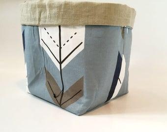 Reversible cotton and washed linen storage basket, empty pocket, fabric basket, ladle