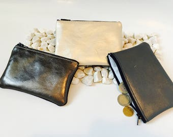 Linen double leather wallet