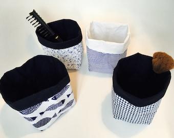 Reversible storage in cotton and linen basket, empty pocket, fabric basket, ladle