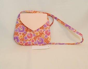 Small hobo style bag - Tote bag - Handmade bag - Peach flower shoulder bag - Flower handbag - Small flower handbag