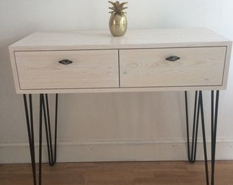 Desk/console Pine Retro style on Hairpin legs. Handmade & finished in Pickle Pine. Shipping  FREE  mainland uk