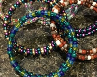 Beaded Memory Wire Bangle Bracelet