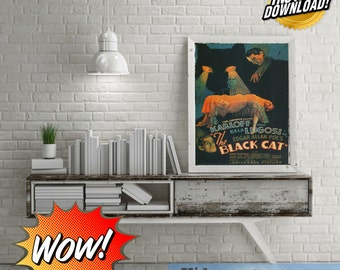 The Black Cat Bela Lugosi Boris Karloff Vintage Movie Poster Digital Art!