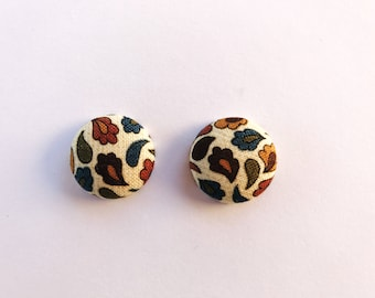 Handmade Paisley Fabric Button Earrings