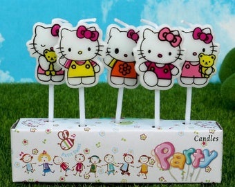Cute Hello Kitty Candles 5pcs|Cartoon theme party|Princess girl 1st first birthday|Baby shower decoration|Centerpiece cup cake topper