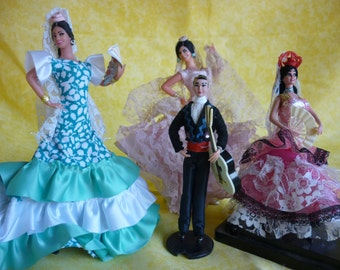 Lot of 4 Spanish dolls flamenco dancers