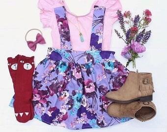 Suspender Skirt, High Waisted Skirt, Girls Skirt, Girls Birthday Outfit, Toddler Skirt, Toddler Clothing, Birthday Dress , Floral Skirt