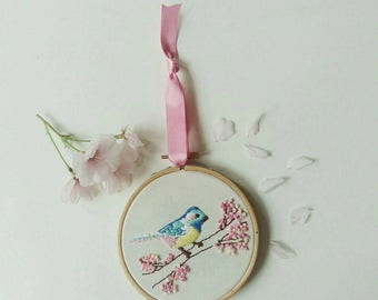 Hand embroidered 'Bird in a blossom tree' hoop art