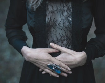 Black natural silk and lace Blouse ''La Ihė''. Luxurious and magic. Witch
