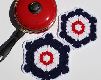 SALE!!! Set of 2 New Handmade Crochet Americana -White Red Blue - Double Layer Hot Pad & Pot Holder - Ready to ship