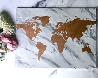 Marble & Bronze World Map   8th Wedding Anniversary   Bronze Anniversary   Hand Painted World Map   16x12 Map   Travel Lover   Wanderlust  