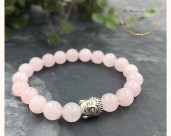 Heart Chakra Rose Quartz Buddha Bracelet