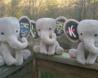Plush Personalized Elephants for Birth, Birthday, Graduation and more