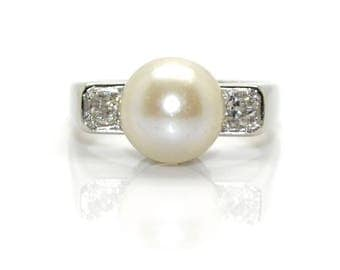 Art Deco, Pearl and diamond ring
