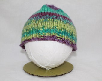 Hand Knitted Infant Hats - Teal/Purple