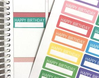 Happy Birthday Planner Stickers // Color // Erin Condren Stickers