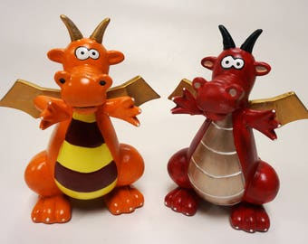 Hand-painted silly ceramic dragon