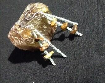 Dangling beaded stone earrings