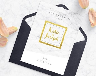Wedding Invitation | Marble Optics | Marble Look | White & Gold