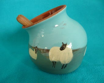 Salt pig Salt cellar Salt piglet with wooden spoon Sheep pig