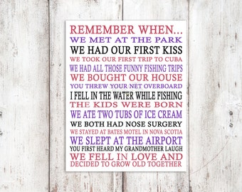 Remember When - 8x10 digital print - Special Memories - Moments to Remember - Gift - Memories - Dates to Remember - PERSONALIZED Poster