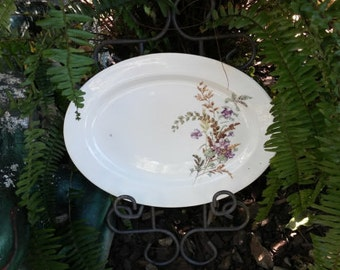 SALE! Vintage Oval Platter with Leaves and Violets