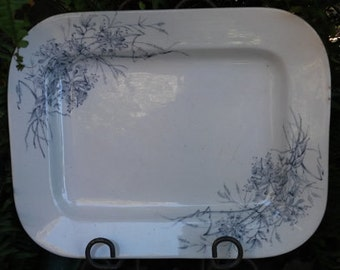 SALE!  Vintage Ironstone Rectangular Serving Platter, Turner with Gray Floral Design