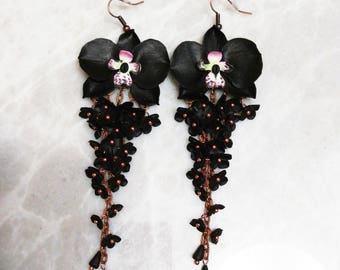 Black orchid earrings, orchid jewelry, Black Flower earrings, Long earrings, Gift for Women, orchid earrings, botanical jewelry