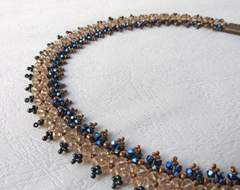 Elegant Necklace, Blue Necklace, Crystals Necklace, Swarovski Necklace, Bronze Necklace, Smoky Necklace, Beaded Necklace, Statement Charm