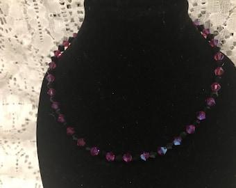 """9"""" Swarovski Jet Black and Pink Crystal Bead Anklet"""