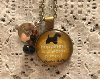 Happiness is a Warm Puppy Glass Pendant Charm Necklace/Puppy Necklace/I Love Dogs Jewelry/Puppy Jewelry/Dog Jewelry/Pet Jewelry