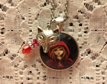 Little Red Riding Hood Charm Necklace/Little Red Riding Hood/Red Riding Hood Necklace/Red Riding Hood Jewelry/Wolf Jewelry/Story Book Charms