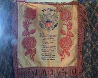 Vintage U.S. Army souvenir pillow case