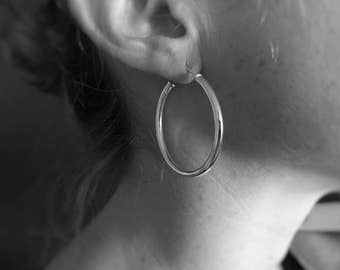 Sterling Silver Hoop Earrings, Large Sterling Silver Hoop Earrings, Silver Hoops, Simple Earrings, Minimalist Jewellery, Modern, JE0009