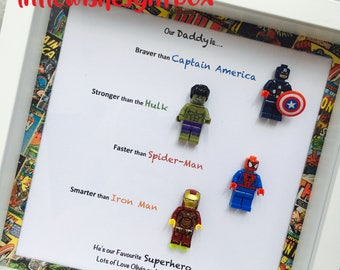 Our Daddy / Grandad is a Superhero box frame, freestanding or wall hung. Spiderman, Batman, Captain America, lego mini figures, personalised
