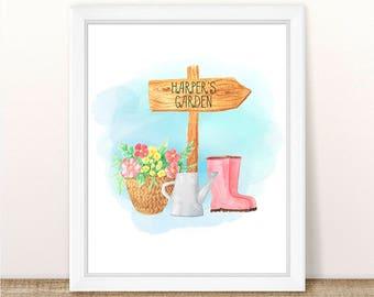 PRINTABLE Watercolor Garden Print, Girl Nursery Art, Custom Name Print, Floral Garden Printable, Watercolor Garden Custom Nursery Art Print
