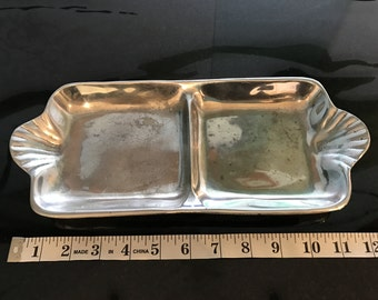 Mexican Pewter Scalloped 2 Compartment Divided Tray with Handles