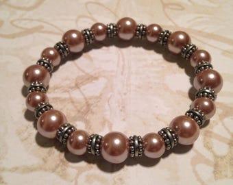 Pink pearl stretchy bracelet