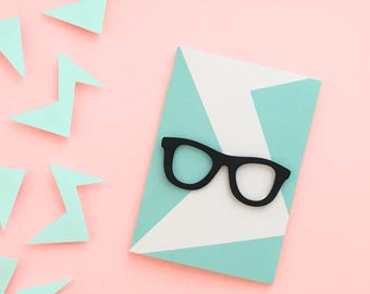 Hipster glasses greeting card