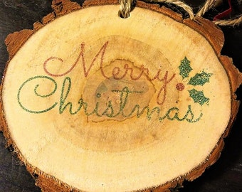 Two Customized Wood Slices (Christmas Ornament, Home Decor)