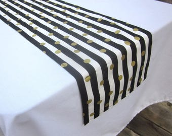 Black, Gold, and White Striped Table Runner - Wedding, Birthday, Graduation, Bridal Shower, Baby Shower