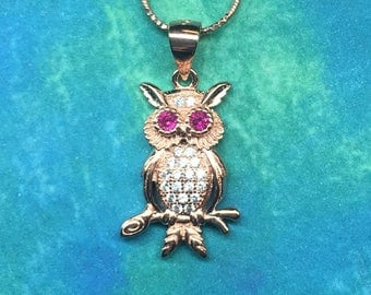 Adorable Owl on a Branch Necklace, Rose Gold Plated Sterling Silver with CZ