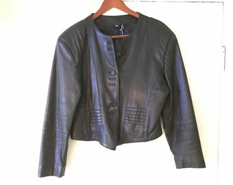 Real Leather VINTAGE Jacket - Cropped - W 10/EU 38 = ADORABLE