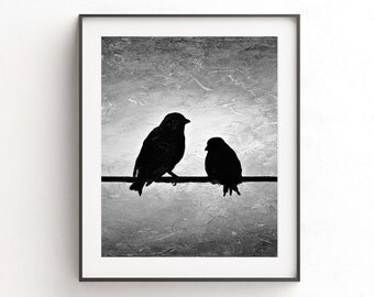 Bird print digital download printable art wall decor black and white birds on wire silhouette print modern home decor design artwork