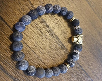 Cheetah lava rock bracelet