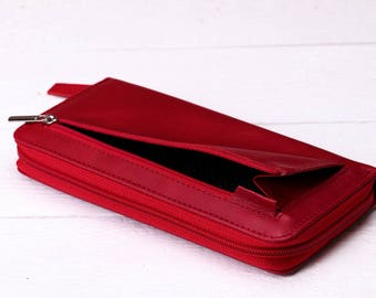 Wallet Leather wallet  Red wallet Women wallet Handmade wallet Wallet coin purse  Zipper wallet Leather coin wallet Wallets Wallets leather