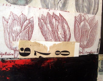 OOAK Original 'Tulips' mixed media collage 10 x 8 in on canvas 2 1/4 in deep