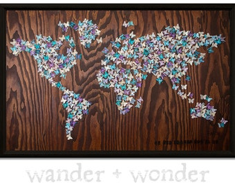 Large Artistic World Map on Canvas or Pin Board - Rustic Butterflies