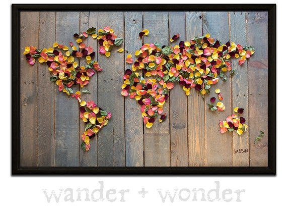 Large Artistic World Map On Canvas Or Pin Board Dried Rose - Artistic world map