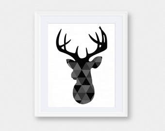 Black Deer Head Wall Art | Deer Head | Deer Print | Deer Head Print | Deer Wall Art | Printable Art | Animal Print| Deer Antlers